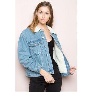 Brandy Melville Fur Denim Jacket